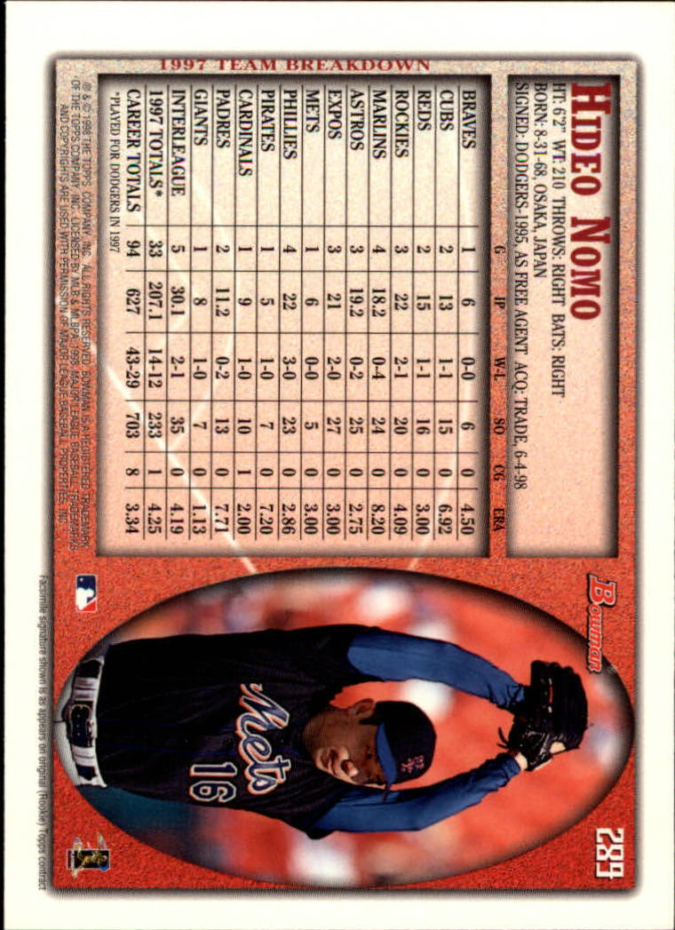 1998 Bowman #289 Hideo Nomo back image