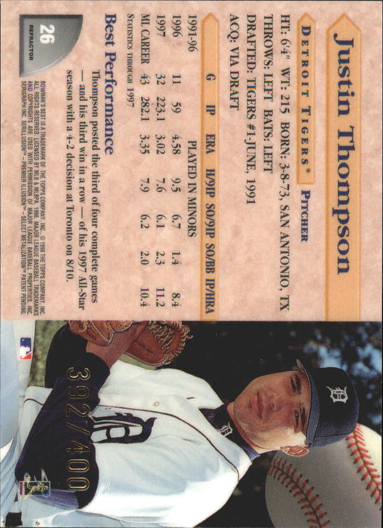 1998 Bowman's Best Refractors #26 Justin Thompson back image