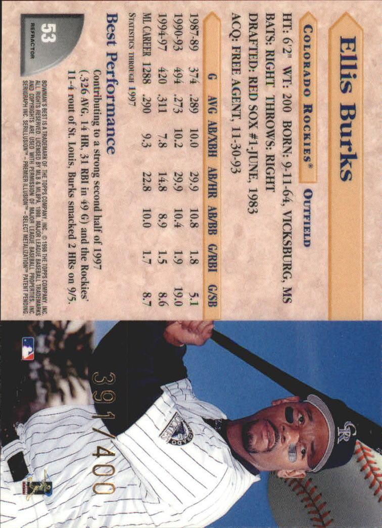1998 Bowman's Best Refractors #53 Ellis Burks back image