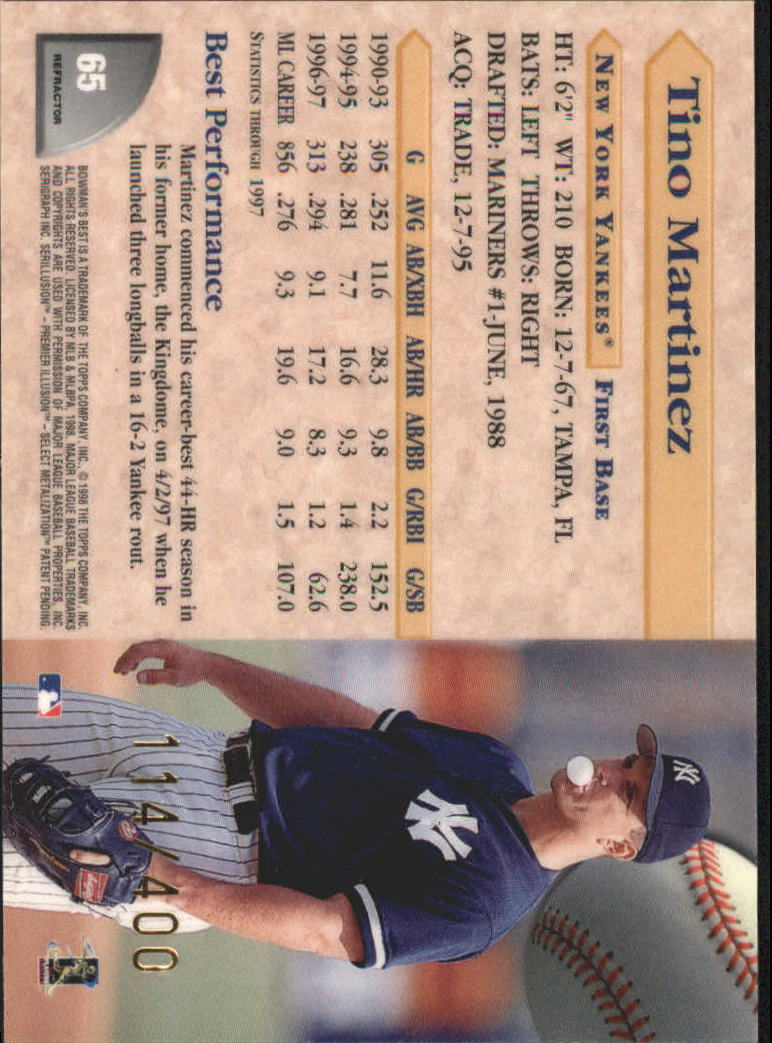 1998 Bowman's Best Refractors #65 Tino Martinez back image