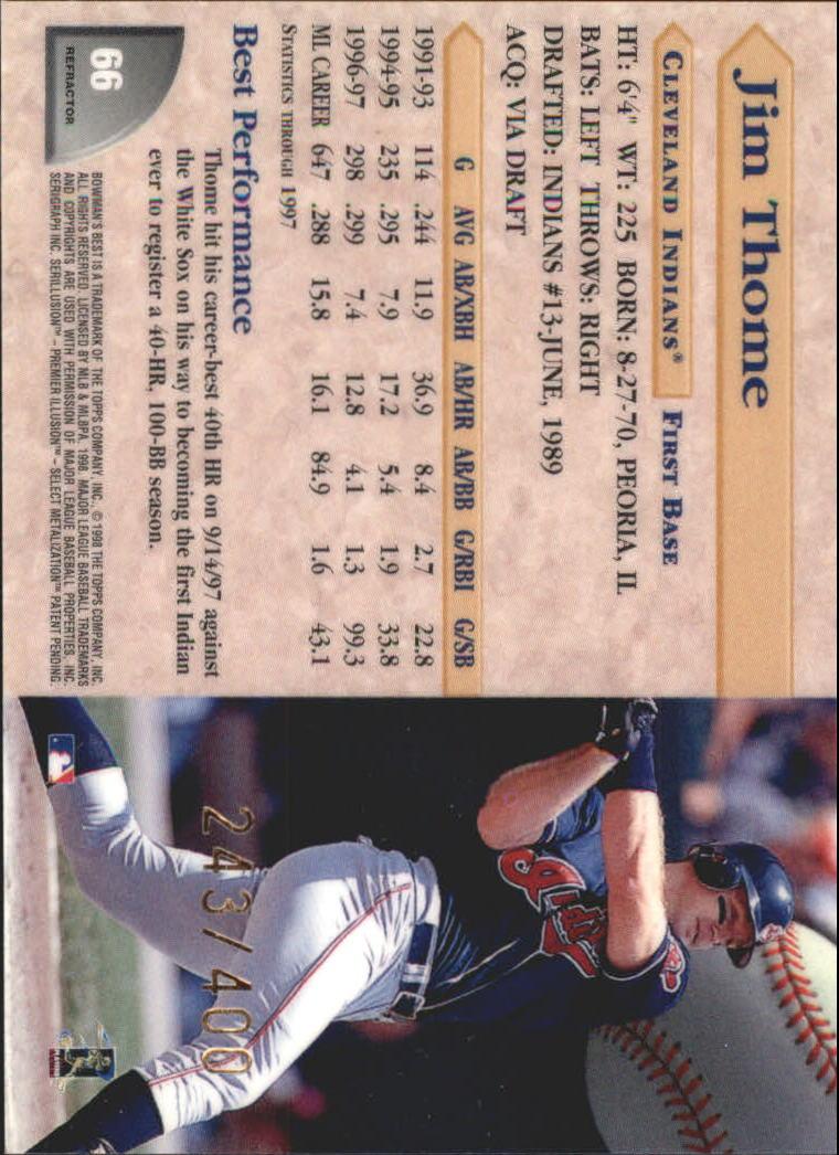 1998 Bowman's Best Refractors #66 Jim Thome back image