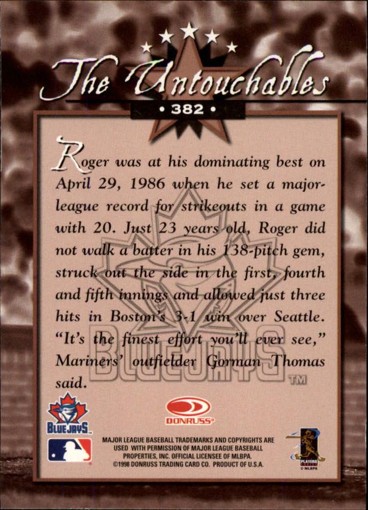 1998 Donruss #382 Roger Clemens UN back image