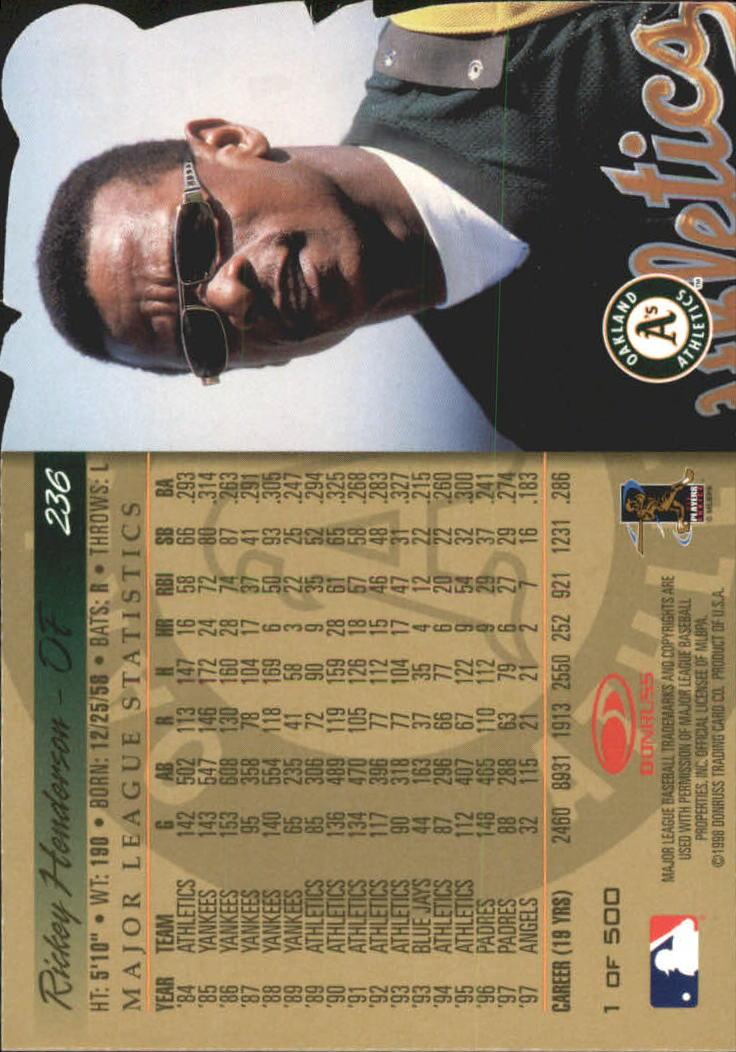 1998 Donruss Gold Press Proofs #236 Rickey Henderson back image