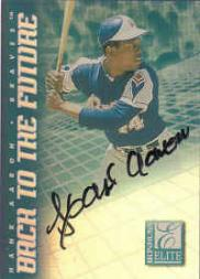 1998 Donruss Elite Back to the Future Autographs #5 Hank Aaron/Jose Cruz Jr.