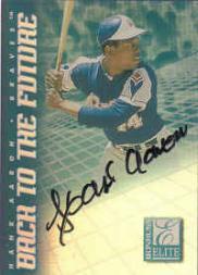 1998 Donruss Elite Back to the Future Autographs #5 Hank Aaron/Jose Cruz Jr.