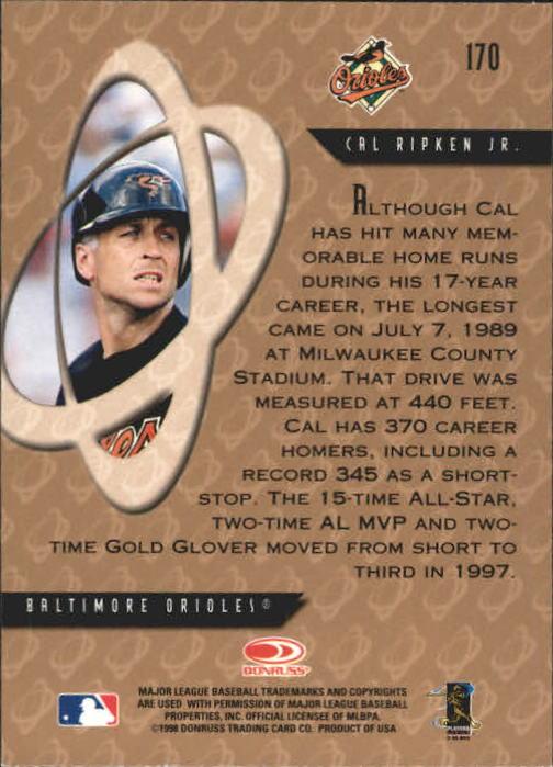 1998 Donruss Preferred #170 Cal Ripken PP GS back image