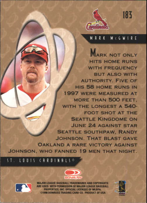 1998 Donruss Preferred #183 Mark McGwire PP GS back image
