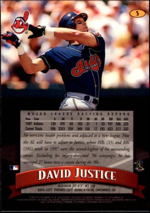 1998 Finest #5 David Justice back image