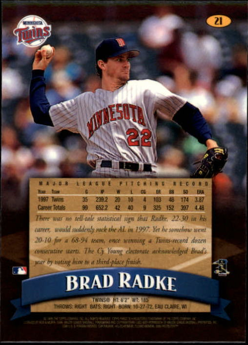 1998 Finest #21 Brad Radke back image