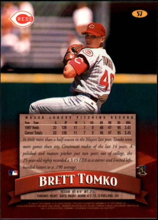 1998 Finest #57 Brett Tomko back image