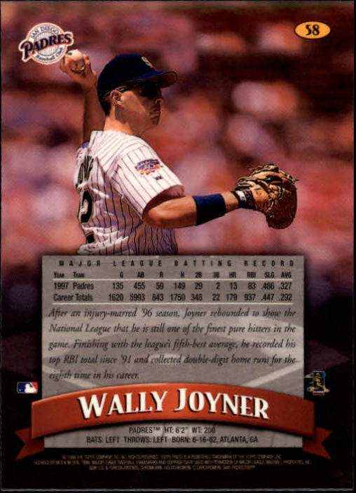 1998 Finest #58 Wally Joyner back image