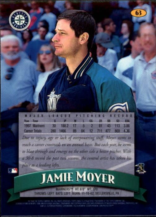 1998 Finest #63 Jamie Moyer back image