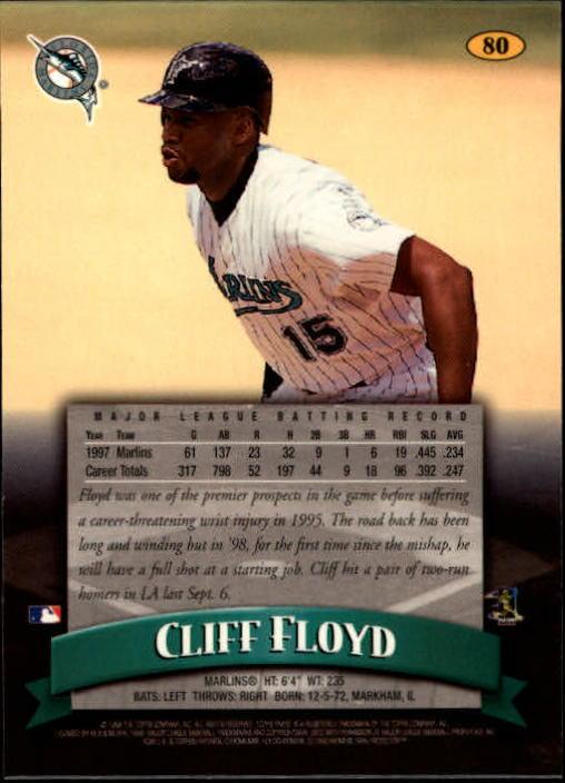 1998 Finest #80 Cliff Floyd back image