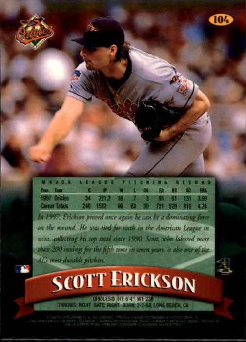 1998 Finest #104 Scott Erickson back image