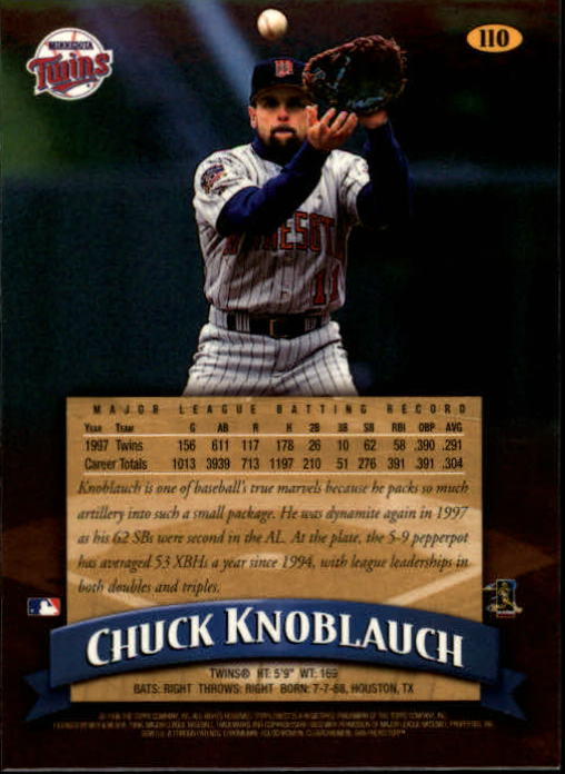1998 Finest #110 Chuck Knoblauch back image