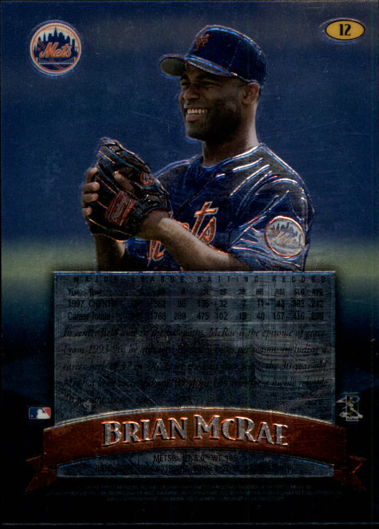 1998 Finest No-Protectors #12 Brian McRae back image