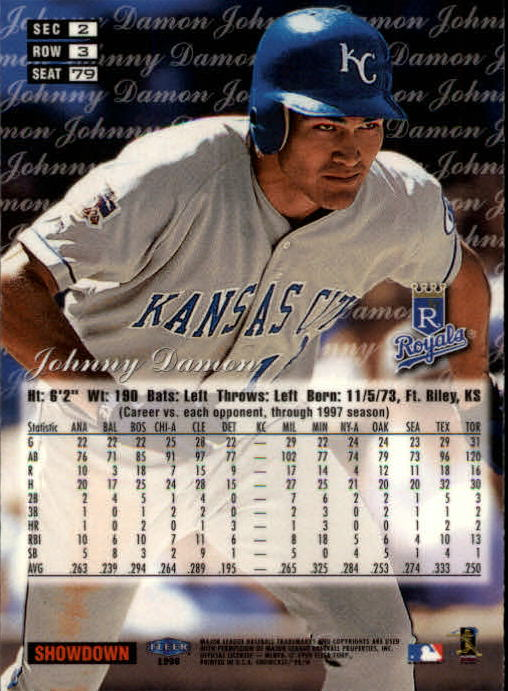 1998 Flair Showcase Row 3 #79 Johnny Damon back image