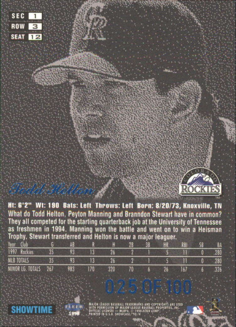 1998 Flair Showcase Legacy Collection Row 3 #12 Todd Helton back image