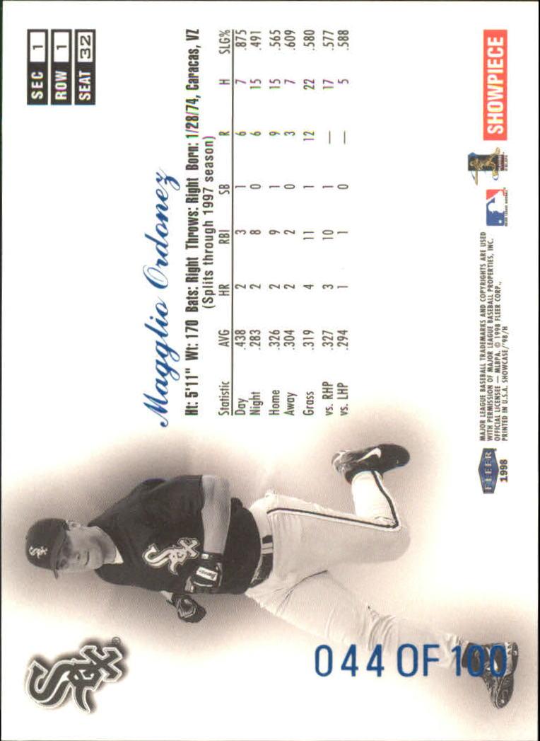 1998 Flair Showcase Legacy Collection Row 1 #32 Magglio Ordonez back image