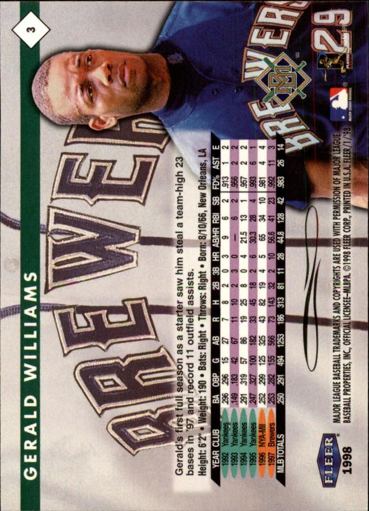 1998 Fleer Tradition #3 Gerald Williams back image