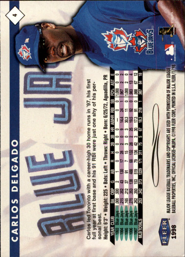 1998 Fleer Tradition #4 Carlos Delgado back image