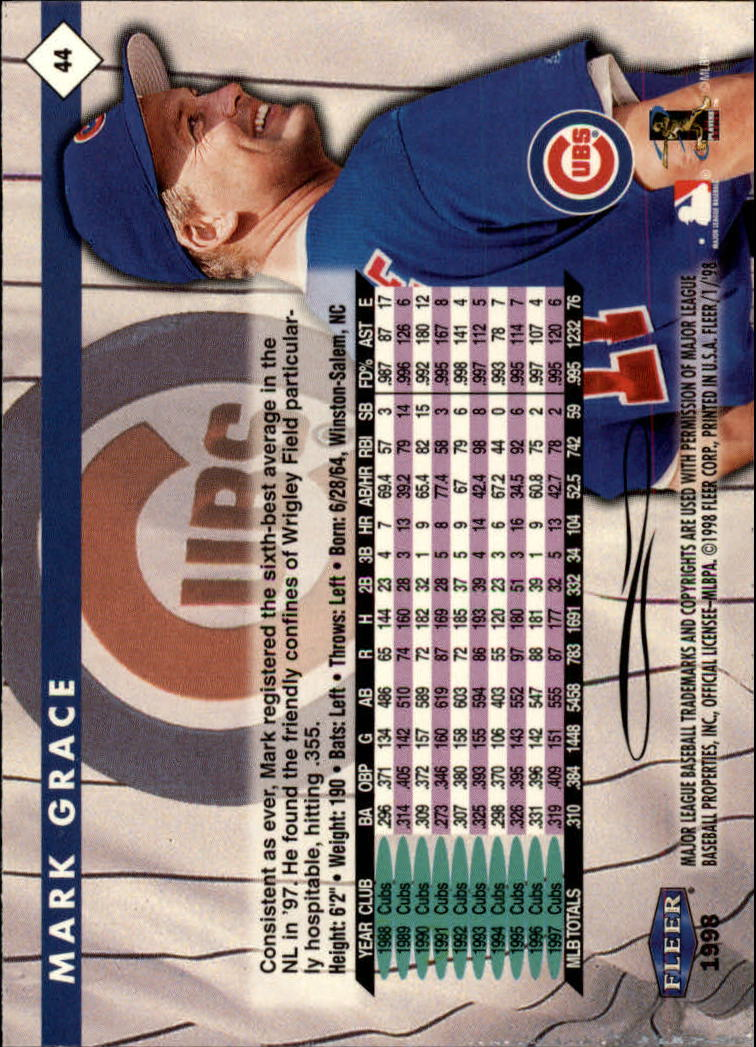 1998 Fleer Tradition #44 Mark Grace back image