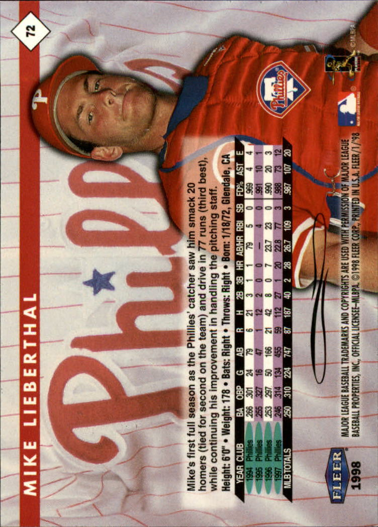 1998 Fleer Tradition #72 Mike Lieberthal back image