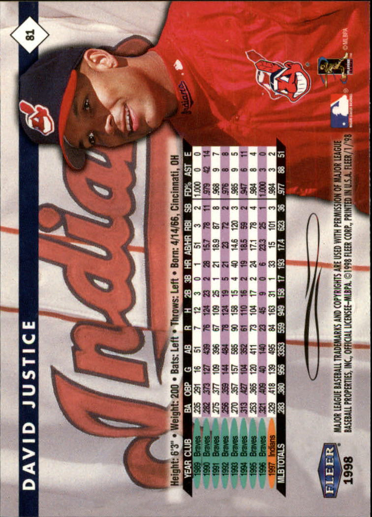 1998 Fleer Tradition #81 David Justice back image