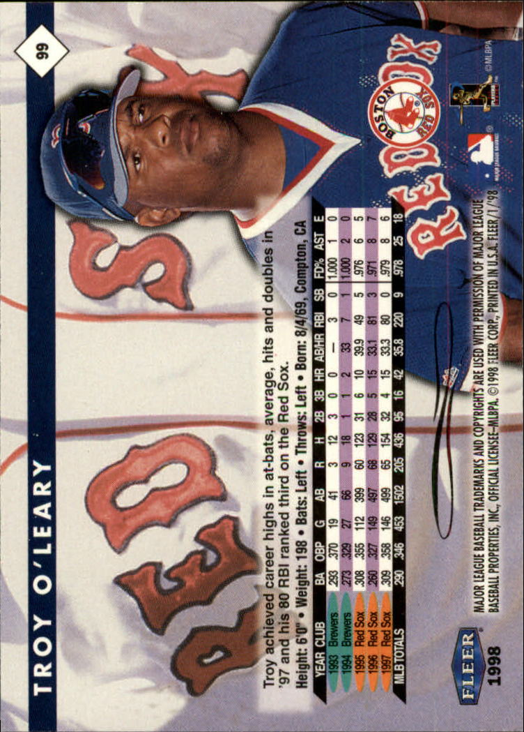 1998 Fleer Tradition #99 Troy O'Leary back image