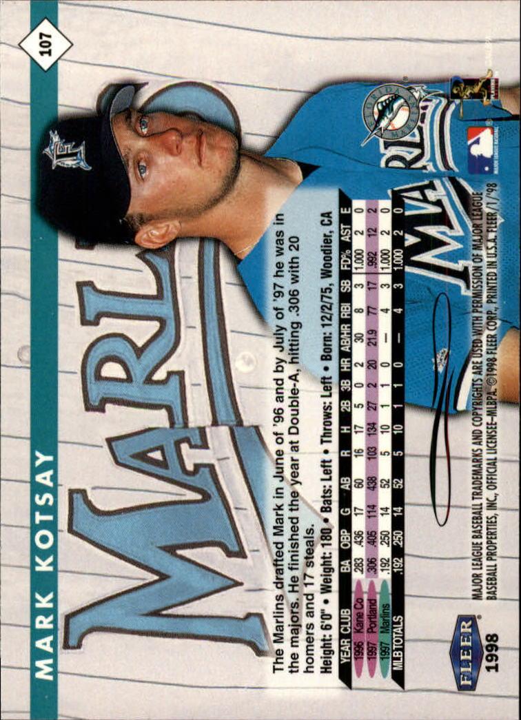 1998 Fleer Tradition #107 Mark Kotsay back image