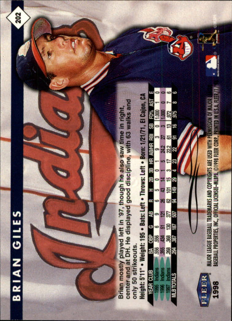 1998 Fleer Tradition #202 Brian Giles back image