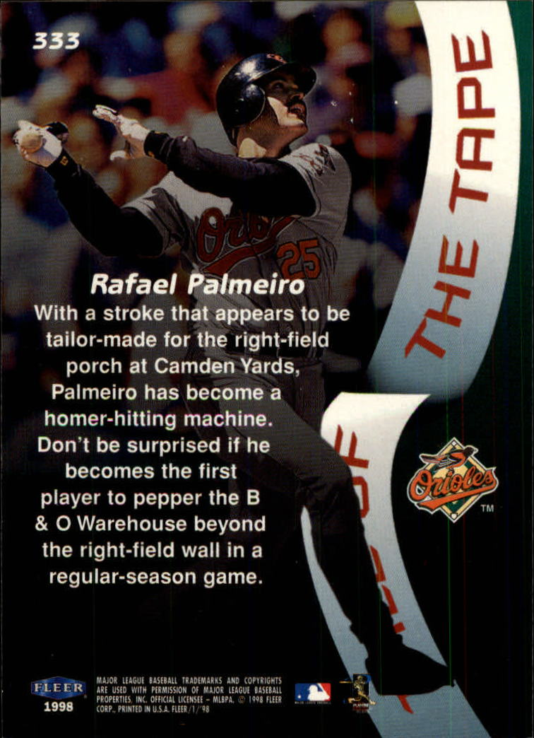 1998 Fleer Tradition #333 Rafael Palmeiro TT back image