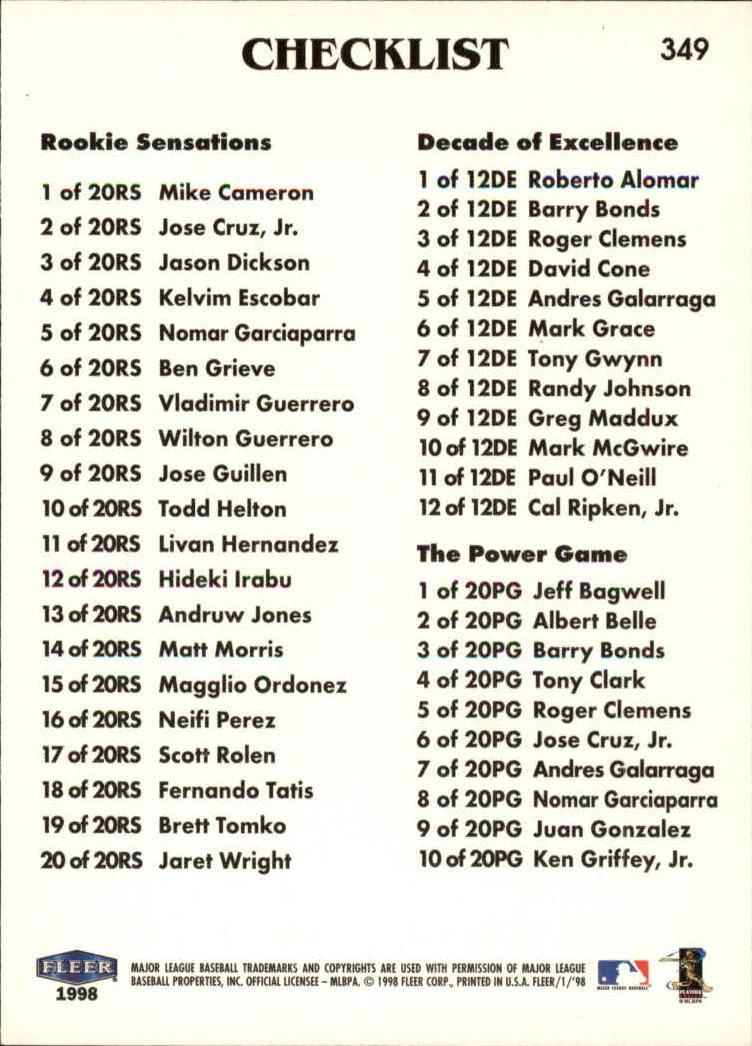 1998 Fleer Tradition #349 Alex Rodriguez CL back image