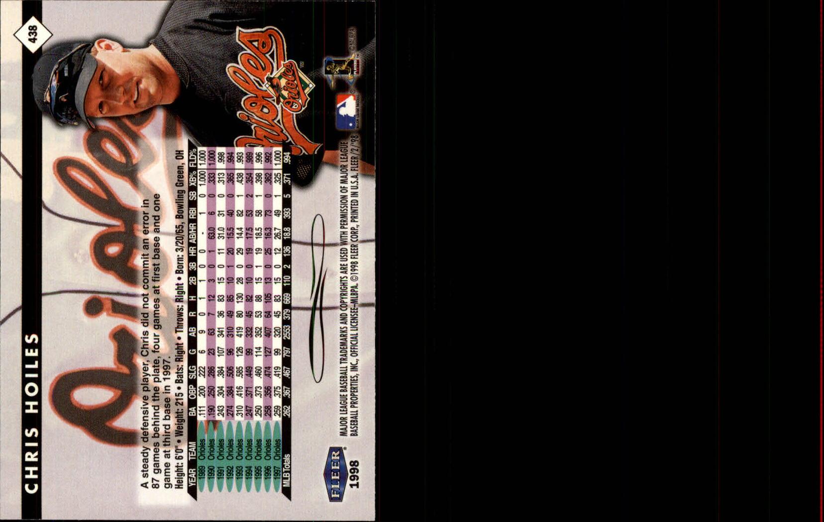 1998 Fleer Tradition #438 Chris Hoiles back image