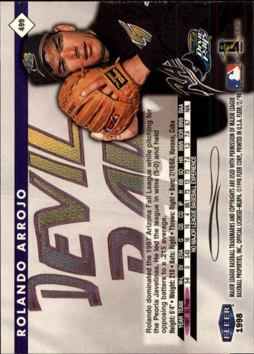 1998 Fleer Tradition #499 Rolando Arrojo RC back image