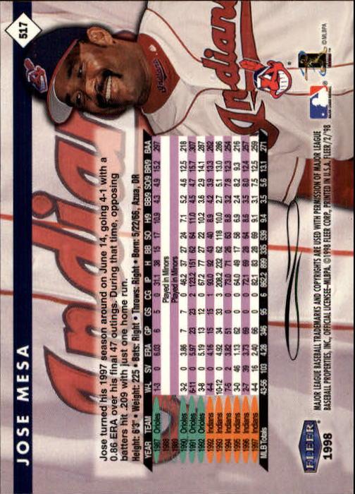 1998 Fleer Tradition #517 Jose Mesa back image