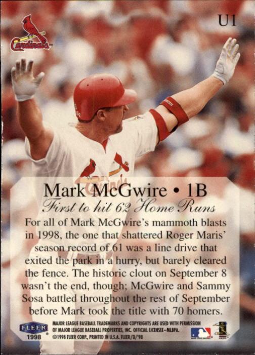 1998 Fleer Tradition Update #U1 Mark McGwire HL back image
