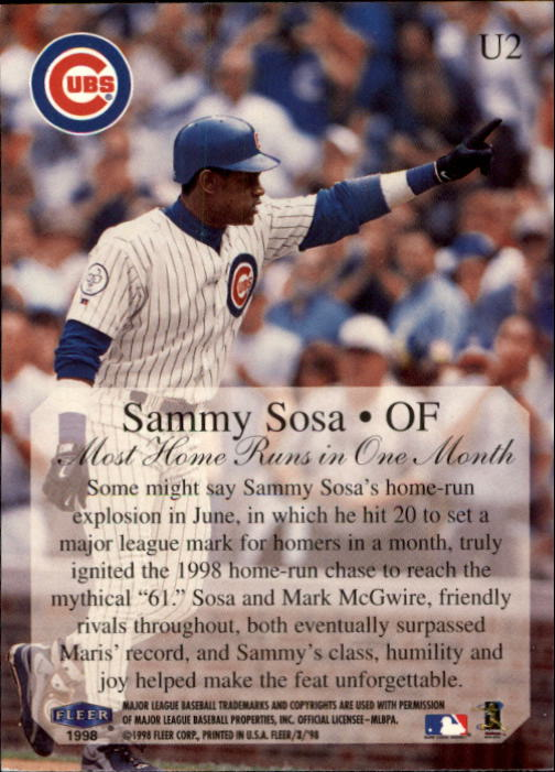1998 Fleer Tradition Update #U2 Sammy Sosa HL back image