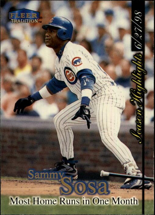 1998 Fleer Tradition Update #U2 Sammy Sosa HL