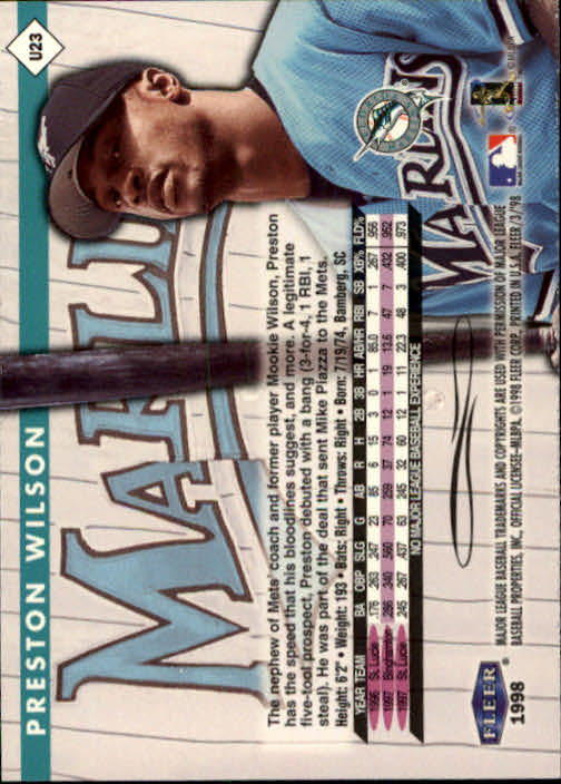 1998 Fleer Tradition Update #U23 Preston Wilson back image