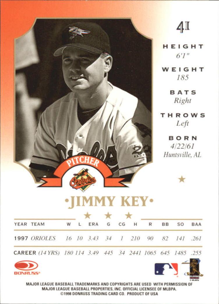 1998 Leaf #41 Jimmy Key back image