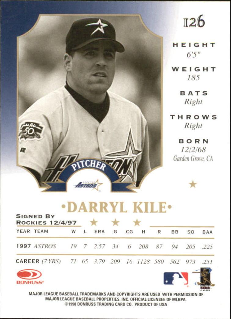 1998 Leaf #126 Darryl Kile back image