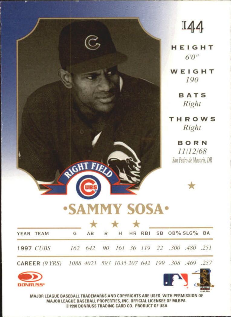 1998 Leaf Fractal Matrix #144 Sammy Sosa GY back image