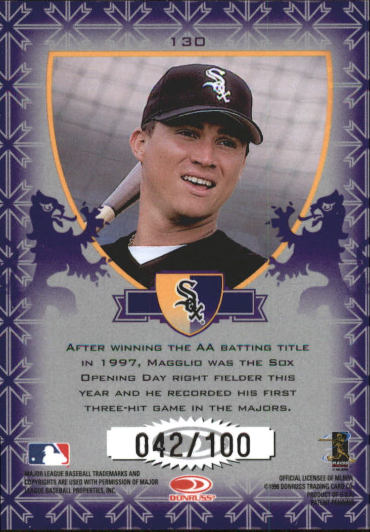1998 Leaf Rookies and Stars Crusade Update Purple #130 Magglio Ordonez back image