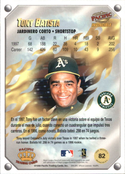 1998 Pacific Invincible Gems of the Diamond #82 Tony Batista back image