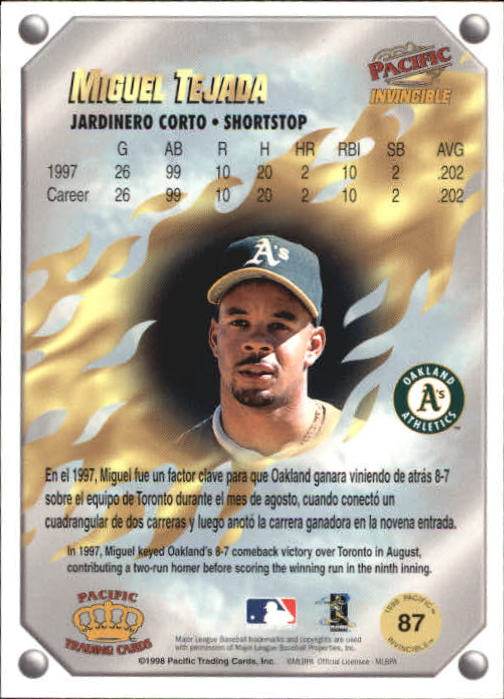 1998 Pacific Invincible Gems of the Diamond #87 Miguel Tejada back image
