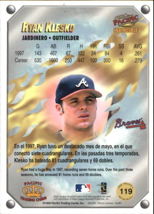 1998 Pacific Invincible Gems of the Diamond #119 Ryan Klesko back image