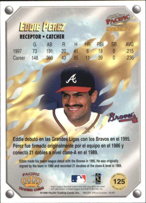 1998 Pacific Invincible Gems of the Diamond #125 Eddie Perez back image