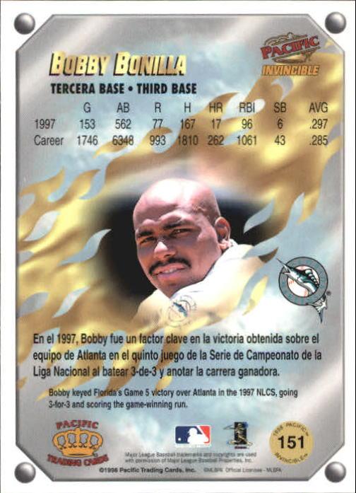 1998 Pacific Invincible Gems of the Diamond #151 Bobby Bonilla back image