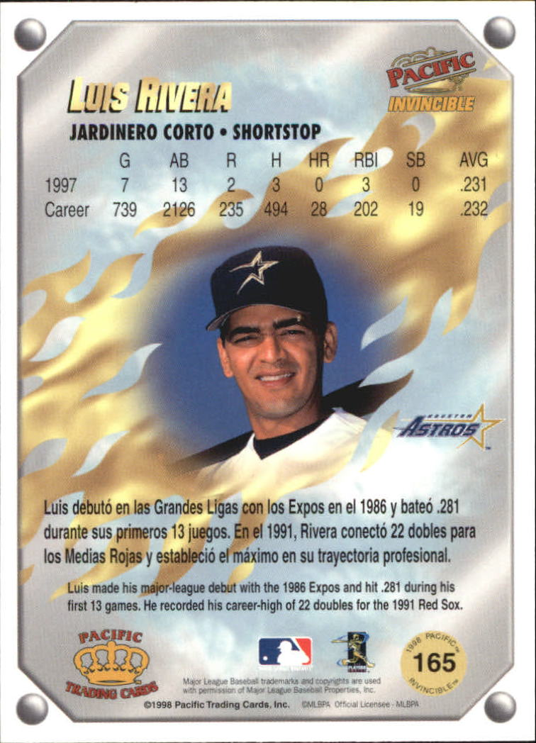 1998 Pacific Invincible Gems of the Diamond #165 Luis Rivera back image